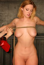 Busty blonde caged in the Cell watching by mistress in r..