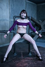 Huge Tit MILF chained to the floor in extreme metal bond..