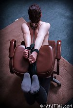 Cam Whore Endza tied to chair, breast caning and Ball Ga..